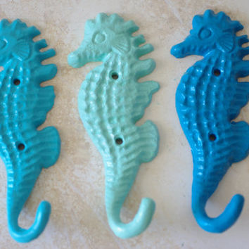 Sea Horse Hook - Beach Decor - Nautical Decor - Beach House Coastal Accessory - Cast Iron  - PICK YOUR COLOR