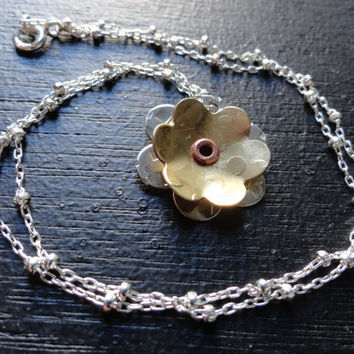 Mixed Metal Flower Necklace Sterling Silver by SugarandSoySauce