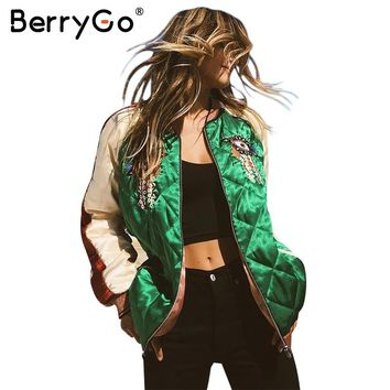 BerryGo Embroidery satin basic jacket Women streetwear baseball jackets Autumn winter padded casual spliced jacket coat outwear