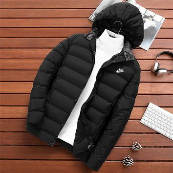 NIKE new winter cotton jacket men's thickening trend hooded cotton clothing Black