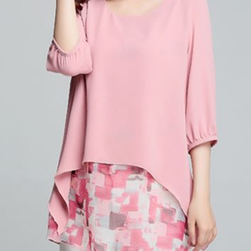 Casual Round Neck Asymmetric Hem Abstract Print Bishop Sleeve Blouse