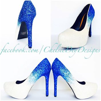Aqua Ombre Glitter High Heels, Something Blue White Wedding Shoes, Sparkly Royal Blue