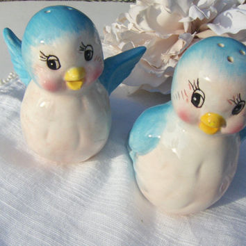 Vintage Bird Salt Pepper Shakers Ceramic Baby Blue Birds