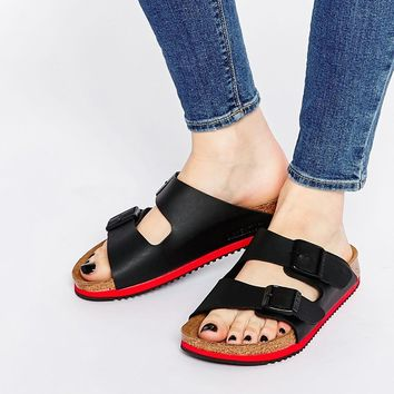 Birkenstock Arizona SL Birko Flor Black Slider Flat Sandals