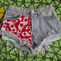Limited Edition High Waisted Canadian Tossed Flag Levi Denim Shorts