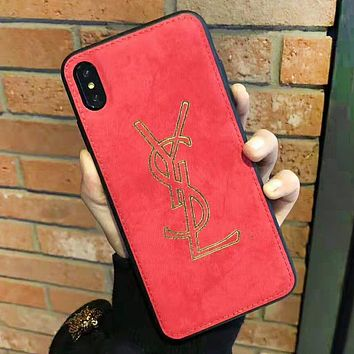 YSL Fashion New Letter Print Women Men Personality Phone Case Protective Cover Red