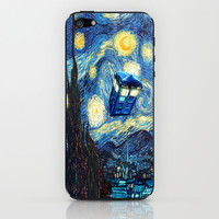 Tardis Doctor Who Starry Night iPhone & iPod Skin by Pointsalestore
