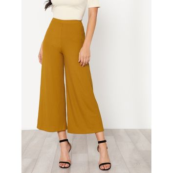 Ginger Mid Waist Plain Wide Leg Crop Pant