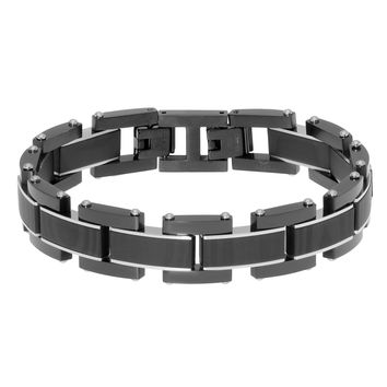Stainless Steel Link Chain Bracelet with Forged Carbon Fiber and Black Ion Plating
