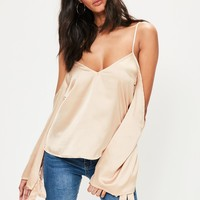 Missguided - Nude Satin Cold Shoulder Tie Cuff Blouse