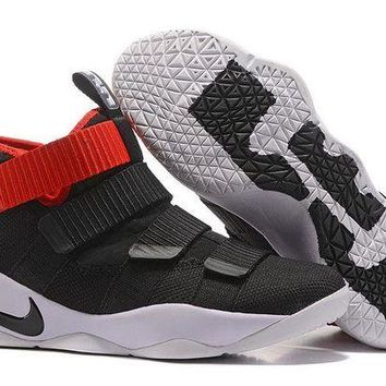 DCCKL8A Jacklish Nike Lebron Soldier 11 Black Red Basketball Shoes 2017 For Sale