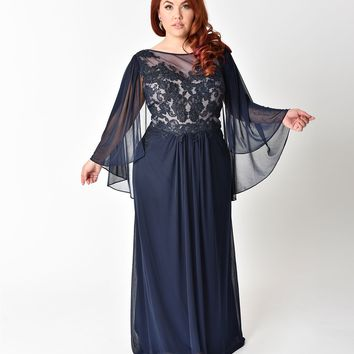 Plus Size Navy Blue Embellished Mesh Sleeved Cape Gown