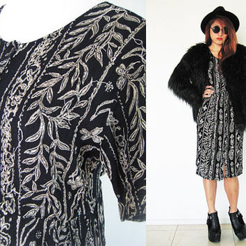 Vintage 90's black white beaded embroidered pleated wrinkle light weight grunge hippie boho bohemian native tribal ethnic button down maxi