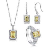 Emerald Cut Canary Cubic Zirconia CZ 925 Sterling Silver Halo Pendant Necklace Dangle Earrings And Ring Matching 3 Pc Set #vs117