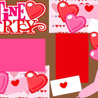 Scrapbook Page Kit or Premade Layout 12X12 2-page Layout- Valentine Party/Class Party