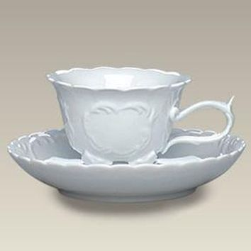 Elegant White Embossed Footed Porcelain Teacup and Saucer - Very Limited!