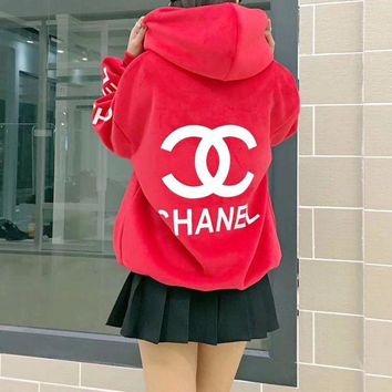DCCKXT7 Chanel' Women Fashion Velvet Letter Logo Print Loose Long Sleeve Hooded Sweater Tops