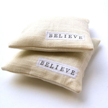 Balsam Sachets SET of 2  Hand Stamped White Linen by SewnNatural
