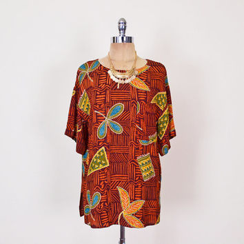 Brown Tribal Top Tribal Blouse Tribal Print Top Ethnic Top Rayon Gauze Top Oversize Top Slouchy Top Boho Top 80s 90s Women S Small M Medium