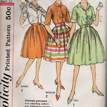 Simplicity 60s Sewing Pattern Full Circle Skirt Retro Blouse Shawl Collar Roll Back Cuffs Button Front Shirt Rockabilly Swing Dress Bust 32