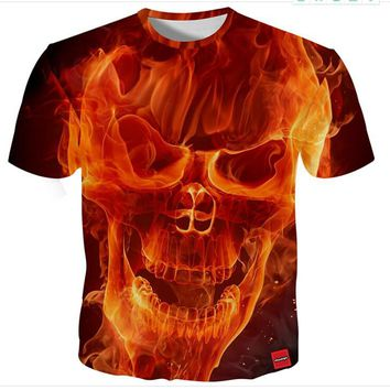 Skull Face Print 3D Print Both Side Hip Hop Short Sleeve Mens