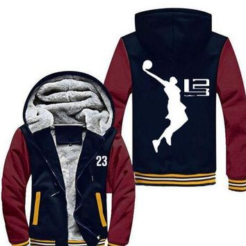 New! Winter Keep warm 23 number Sweatshirts Cool Man Hoodie LeBron James Boy Jacket Long Sleeve Thicken Fleece Zipper Jacket