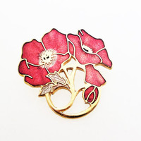 Cloisonné Enamel Vintage Cherry Red Anemone Gold Tone Flower Brooch by Fish and Crown