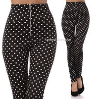 HIGH WAIST Pin-Up Pants Polkadot DOT Skinny Stretch Leggings Trendy Apparel