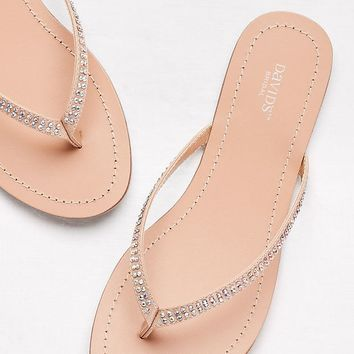 Classic Flip Flops with Iridescent Stones | David's Bridal