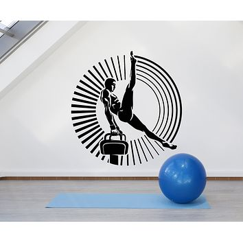 Vinyl Wall Decal Aerial Acrobatics Gymnastic Air Athlete Gymnast Sport Stickers Mural (g1102)