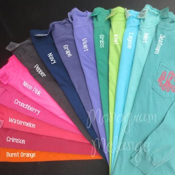 Best monogrammed long sleeve comfort colors products on wanelo for Pocket tee shirts for womens