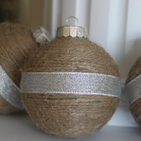 Twine wrapped Christmas bulbs, Christmas decor, Christmas Tree decorations, Rustic Christmas, Country Christmas, Farmhouse, Ornaments