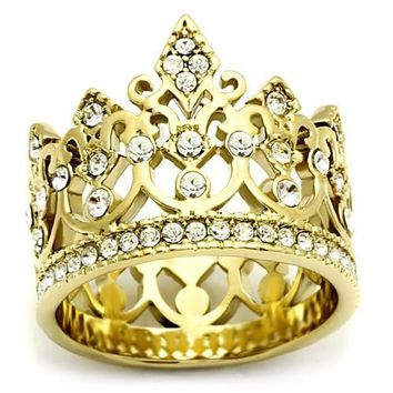 Gold Stainless Steel Crystal Crown Ring