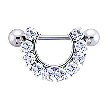 Pair of Nipple Ring 14G Horseshoe 10 Clear Gems with barbell (Sold As Pair)