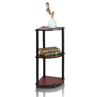 Furinno 3-Tier Corner Display Rack Shelving Unit, Dark Cherry/Black