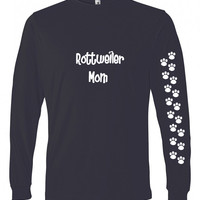 Rottweiler Mom Tshirt Ladies Cut Blue Long Sleeve Adult 2XL