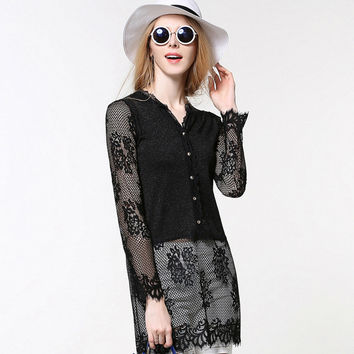 Lace Patchwork Knit Tops Black Sexy Jacket [9034740230]