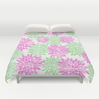 pink and green flowers Duvet Cover by Sylvia Cook Photography