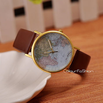 Christmas Gift, World Map Watch, Leather Watch, Men wrist watch, Lady wrist watch, Vintage wrist watch, Leather watch, Handmade Watch  W-4