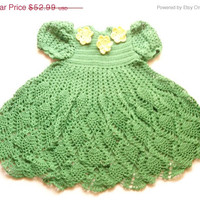 Special Birthday Sale Green with Yellow flowers Baby girl Crochet Lace Dress Newborn Preemie Reborn doll Handmade dress