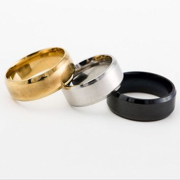European Style 8-MM Titanium Silver/Black/Gold Colors Men's Classic Statement Ring