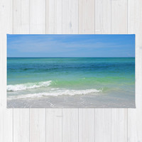 Blue Green Sea - Beach Towel, Coastal Surf Seascape Print Towel, Sun Bathing & Tanning Bohemian Hippie Chic Surf Tote Accessory. 36x72 Inch