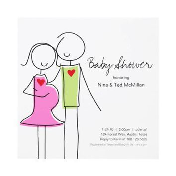 Square Coed Baby Shower Invitations, 5x5 from Zazzle.com