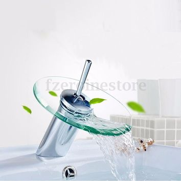 Modern Design Kitchen Bathroom Glass Waterfall Tub Vanity Sink Faucet Water Tap