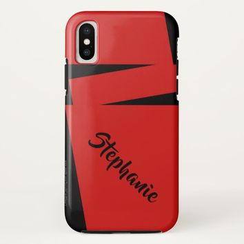 iPhone X Case Red and Black Stripe on Stripe