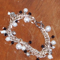 Black White and Pearl Bracelet on Silver Chain