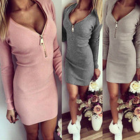 Fashion Women Dress Autumn Winter Bodycon Cocktail Dress Long Sleeve Mini Dress Alternative Measures - Brides & Bridesmaids - Wedding, Bridal, Prom, Formal Gown