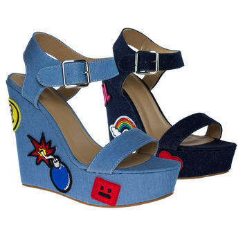 Charade33S DkBlue Denim by Bamboo, Women Pop Art Embroidered High Platform Wedge Open Toe Sandal