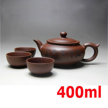 Yixing Ceramic Teapot Handmade Porcelain Tea Pot Cup Set Purple Clay Teapots 400ml Zisha Kung Fu Ceremony Gift BONUS 3 CUPS 50ml