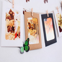10pcs/lot 6 Inch Combination Wall Photo Frame DIY Hanging Picture Album Home Decoration Rectangle Picture Frame with rope & clip